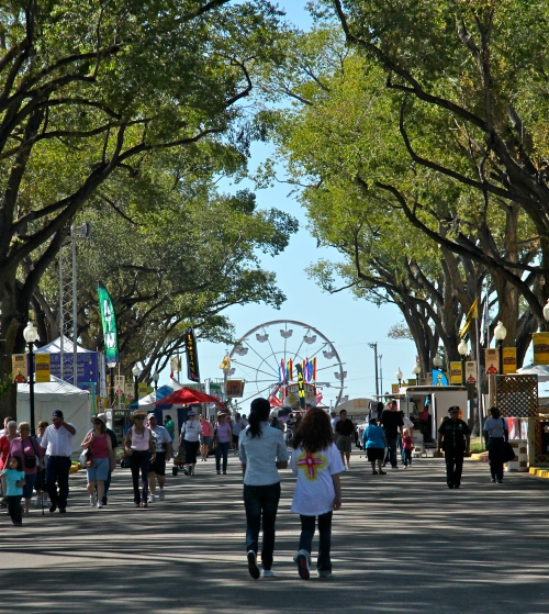 Looking down Main Street towards the Midway