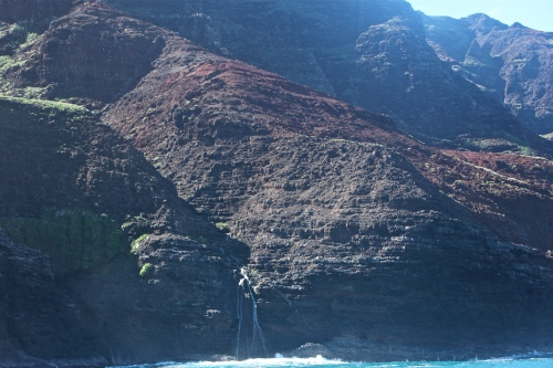 Lovely waterfall on the Napali Coast.