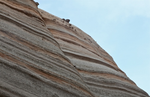 Sedimentary rock layers showing  volcanic tuff and rhyolite.
