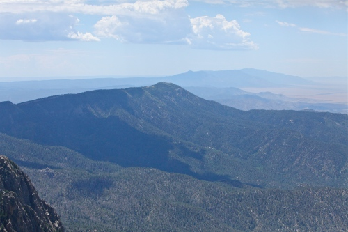 View to the south along the Sandia and Manzano mountain ridges.