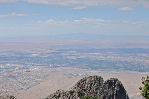 View to the west from Sandia Crest, showing a partial view of Albuquerque, across the Rio Grande to Mount Taylor.
