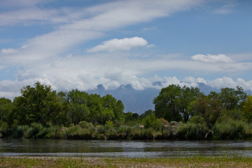 Rio Grande and clouds over the Sandias.