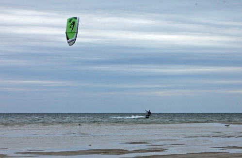 Kite surfer at Laguna Madre Bay, South Padre Island, Texas.